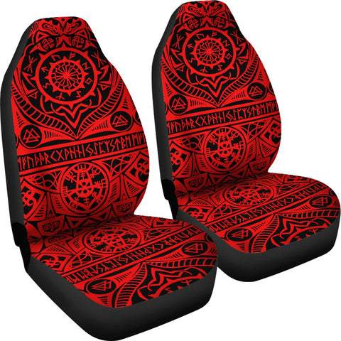 1stIceland Viking Car Seat Covers, Vegvisir Helm Of Awe Tattoo K4 - 1st Iceland