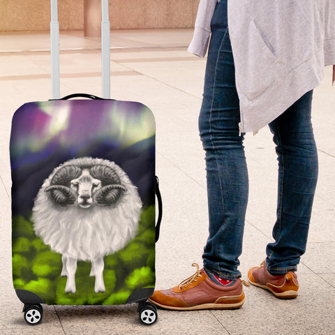 1stIceland Luggage Cover, Icelandic Sheep Northern Lights K4 - 1st Iceland