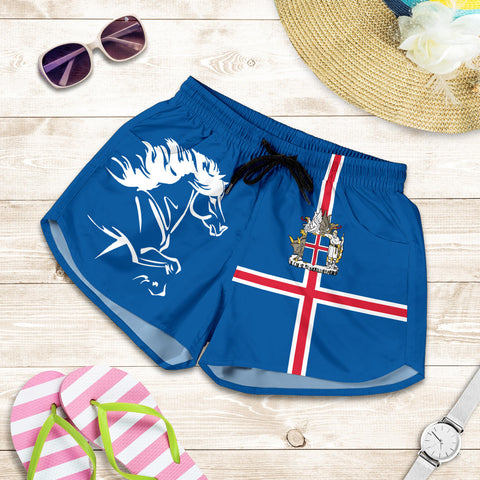 1stIceland Women Shorts, Icelandic Horse Flag Coat Of Arms K4 - 1st Iceland