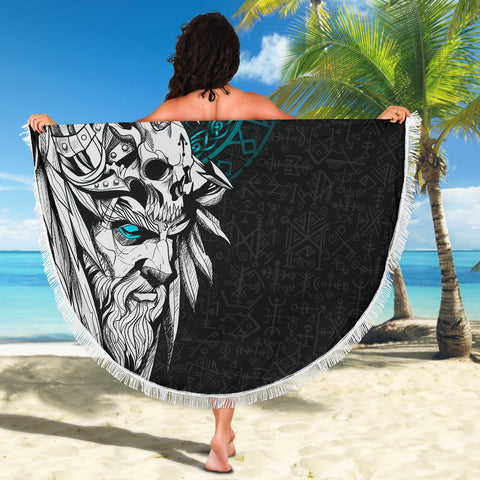 1stIceland Viking Odin And Raven Turquoise Beach Blanket TH12