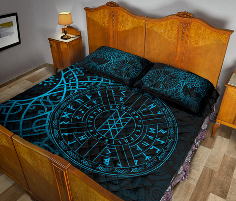 Image of 1stIceland Viking Web Of Wyrd Quilt Bed Set Yggdrasil - Blue K8 - 1st Iceland