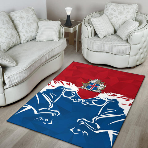 1stIceland Pullover Area Rug, Horse Coat Of Arms Couple Style K4 - 1st Iceland