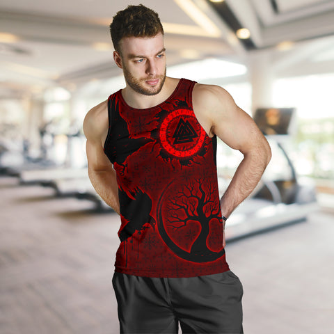1stIceland Viking Valknut Huginn and Muninn Men Tank Top Yggdrasil, Vegvisir Helm of Awe - Red K8 - 1st Iceland