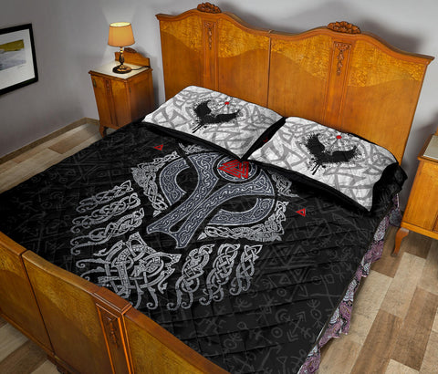 Viking Wolf and Raven Quilt Bed Set Valknut Runes K13 - 1st Iceland