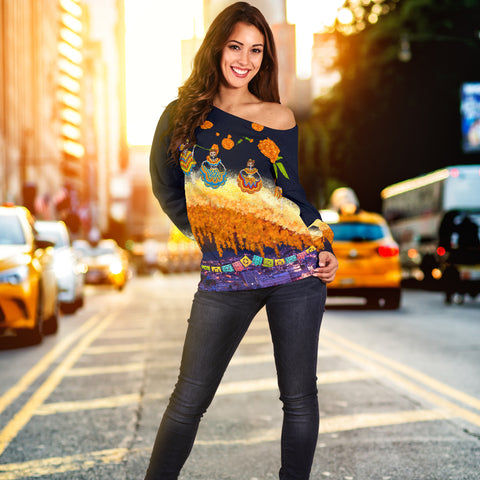 1stIceland Mexican Día de Muertos Women Off Shoulder Sweater Cempasúchil Flowers Bridge K8 - 1st Iceland