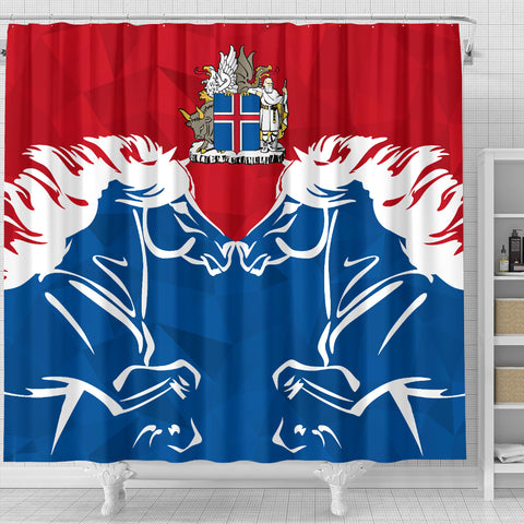1stIceland Pullover Shower Curtain, Horse Coat Of Arms Couple Style K4 - 1st Iceland
