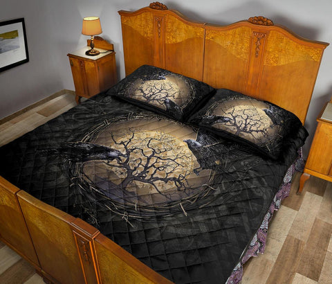 1stIceland Viking Quilt Bed Sets, Odin's Raven Tree Of Life Valknut Rune Circle K6 - 1st Iceland