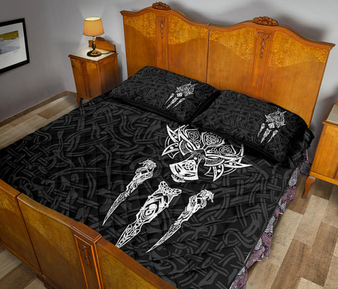 1stIceland Viking Quilt Bed Set, Fenrir The Vikings Wolves Th00 Black - 1st Iceland