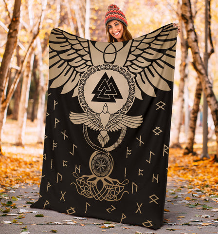 Image of 1stIceland Viking Premium Blanket, Flying Raven Tattoo And Valknut Gold - 1st Iceland