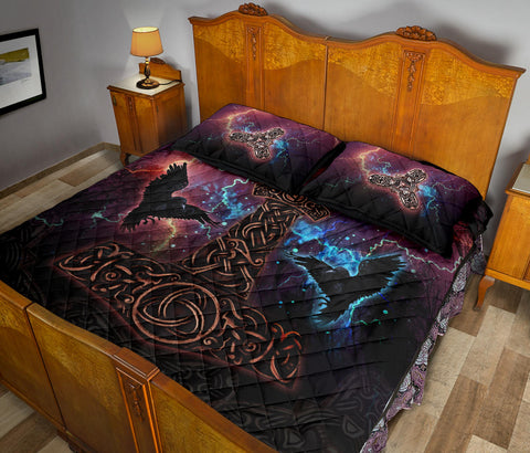 1stIceland Viking Quilt Bed Set, Mjolnir Huggin And Muninn - 1st Iceland
