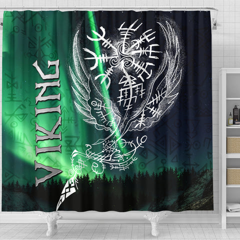 1stIceland Viking Shower Curtain Northern Lights TH12
