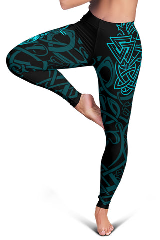 1stIceland Viking Mjolnir Women Leggings Celtic Raven Version Turquoise K13 - 1st Iceland