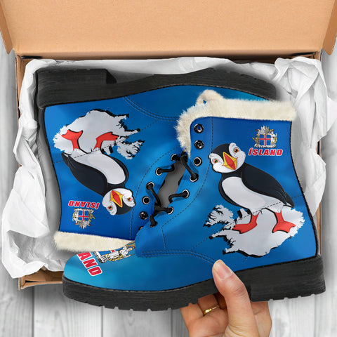 Image of 1stIceland Faux Fur Leather Boots, Icelandic Puffins Coat Of Arms K4 - 1st Iceland