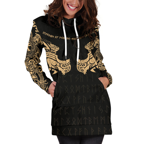 Image of 1stIceland Viking Women Hoodie Dress, Fenrir Tattoo The Ragnarok - Gold K4 - 1st Iceland