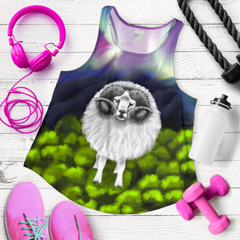 1stIceland Women's Racerback Tank, Icelandic Sheep Northern Lights Aurora K4 - 1st Iceland