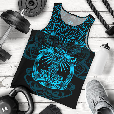 1stIceland Viking Mjolnir Men Tank Top Celtic Raven Version Blue K13 - 1st Iceland