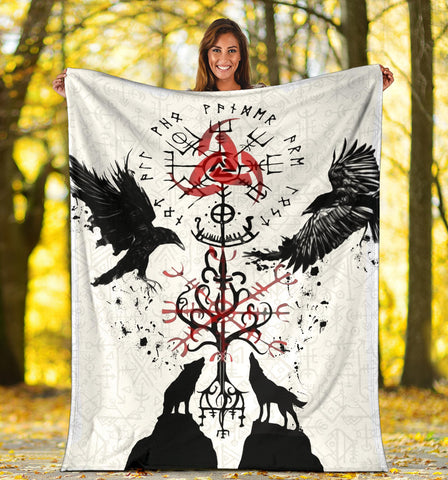 1stIceland Viking Premium Blanket, Vegvisir Hugin and Munin with Fenrir Yggdrasil K4 - 1st Iceland