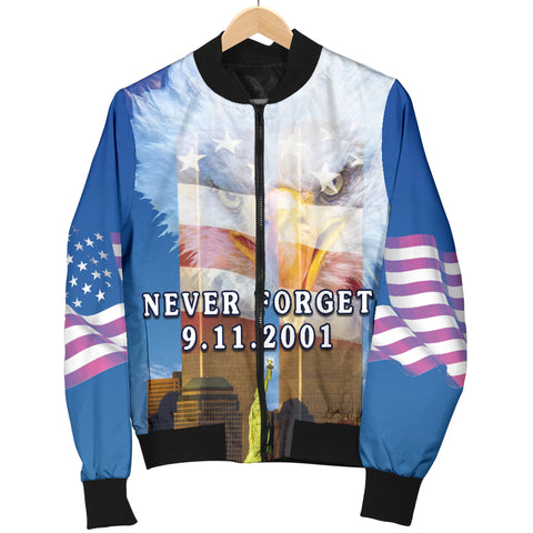 Image of 1stIceland American Firefighters Women Bomber Jacket 9.11.01 Gratitude K8 - 1st Iceland