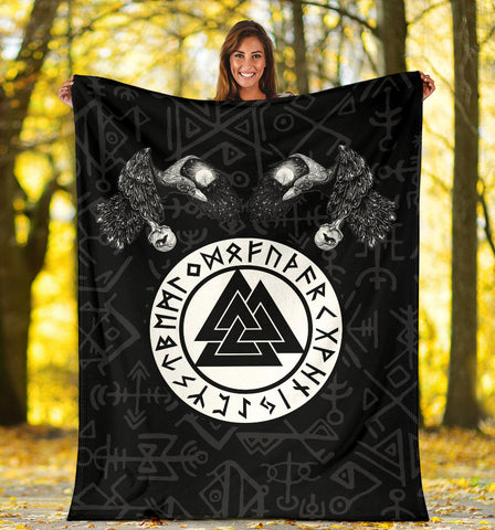 1stIceland Viking Premium Blanket, Fenrir Skoll And Hati Valknut Raven TH00 - 1st Iceland