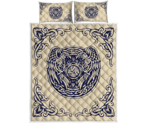 1stIceland Viking Quilt Bed Set, Valknut Huggin And MuninnTh00 - 1st Iceland