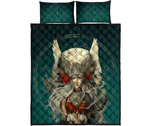 1stIceland Viking Quilt Bed Set, Valkyrie Helm Of Awe Rune Circle K5 - 1st Iceland