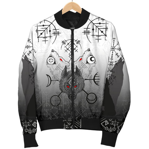 Image of 1stIceland Viking Wolf Women Bomber Jacket Runes Special K13
