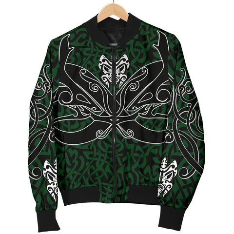 1stIceland Celtic Bomber Jacket for Women, Celtics Dragon Tattoo Th00 - Green - 1st Iceland