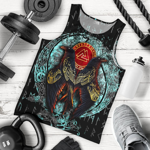 1stIceland Viking Men's Tank Top Raven Moon Tattoo TH12 - 1st Iceland