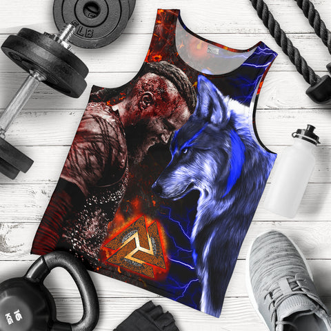 Image of 1stIceland Viking Men's Tank Top Ragnar and Wolf TH12 - 1st Iceland