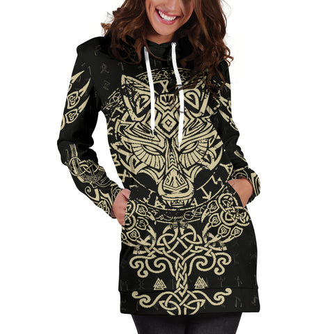 Image of 1stIceland Viking Wolf Fenrir Women's Hoodie Dress TH12 - 1st Iceland