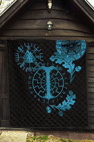 Image of 1stIceland Viking Oak Leaf Premium Quilt Valknut Vegvisir With Irminsul - Blue K8 - 1st Iceland