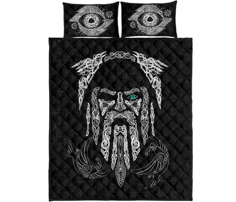 1stIceland Viking Quilt Bed Set, Odin's Eye with Raven K4