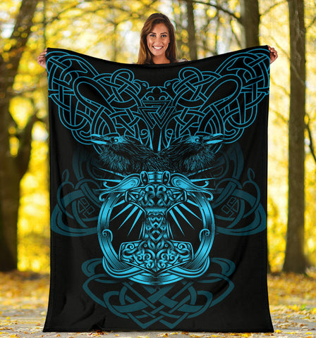 1stIceland Viking Mjolnir Premium Blanket Celtic Raven Version Blue K13 - 1st Iceland