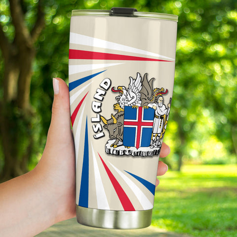 Image of 1stIceland Iceland Tumbler Coat Of Arms Creative Vibes - Beige K8 - 1st Iceland
