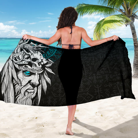 1stIceland Viking Odin And Raven Turquoise Sarong TH12