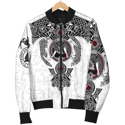 Image of 1stIceland Viking Bomber Jacket, Fenrir Skoll And Hati Valknut K5 - 1st Iceland