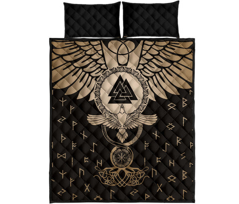 1stIceland Viking Quilt Bed Set, Flying Raven Tattoo And Valknut Gold - 1st Iceland