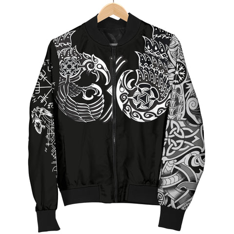 1sticeland Vikings Women's Bomber Jacket, Huginn and Muninn The Odin Raven Th00 - 1st Iceland