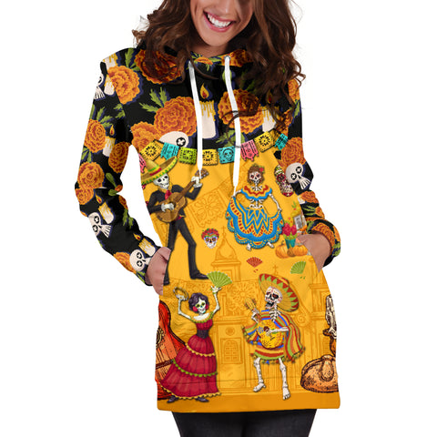 Image of 1stIceland Mexican Día de Muertos Women Hoodie Dress Cempasúchil Flowers K8 - 1st Iceland