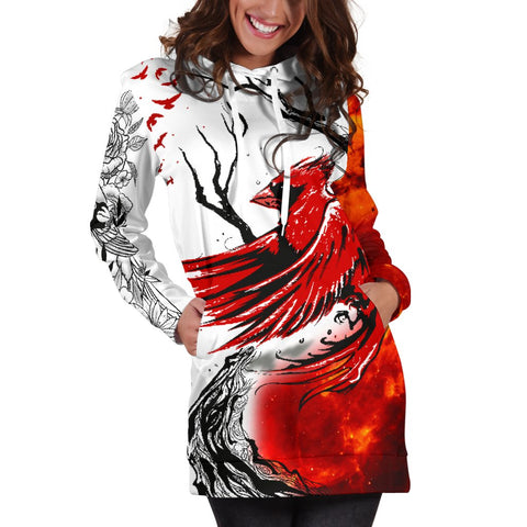 1stIceland Cardinal Red Bird Hoodie Dress K4 - 1st Iceland