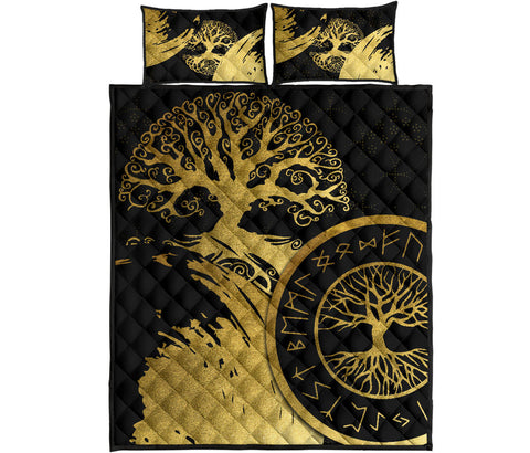 1stIceland Viking Yggdrasil Quilt Bed Set Gold TH4 - 1st Iceland
