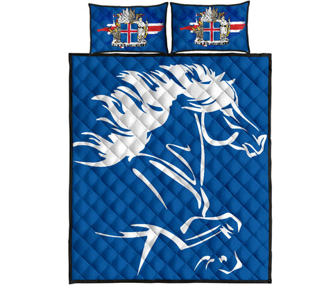 Image of 1stIceland Quilt Bed Set, Icelandic Horse Coat Of Arms K4