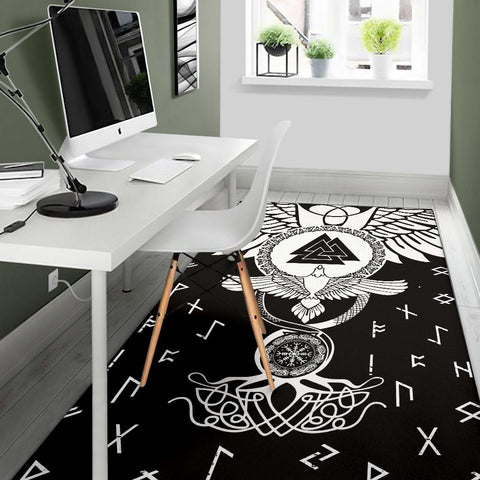 1stIceland Viking Area Rug, Flying Raven Tattoo And Valknut - 1st Iceland