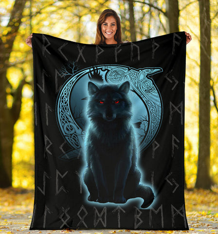 1stIceland Fenrir Viking Wolf And Moon Premium Blanket TH12 - 1st Iceland