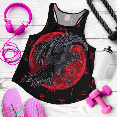 1stIceland Viking Women Racerback Tank , Odin Raven with Blood Moon Th5 - 1st Iceland