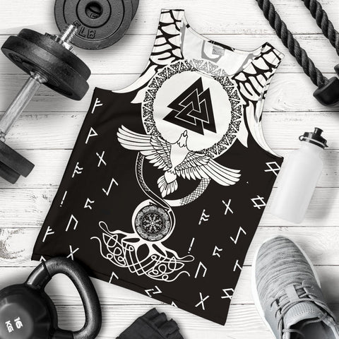 1stIceland Viking Men Tank Top, Flying Raven Tattoo And Valknut - 1st Iceland