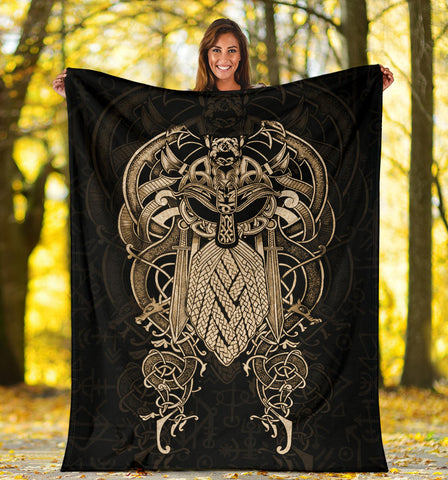 Image of 1stIceland Viking Premium Blanket, Odin Norse Mythology K4 - 1st Iceland