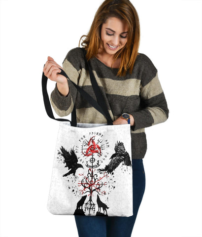 Image of 1stIceland Viking Tote Bag, Vegvisir Hugin and Munin with Fenrir Yggdrasil K4 - 1st Iceland