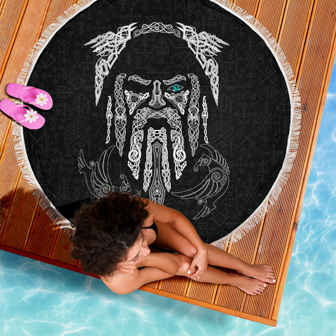Image of 1stIceland Viking Beach Blanket, Odin's Eye with Raven K4 - 1st Iceland