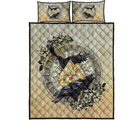 Image of 1stIceland Viking Quilt Bedding Set, Raven Valknut Tree Of Life Rune Circle TH00 - 1st Iceland